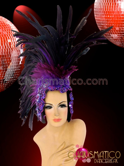CHARISMATICO Appliquã© Accented Cap-Style Diva'S Two Toned Purple Feather Mohawk Headdress