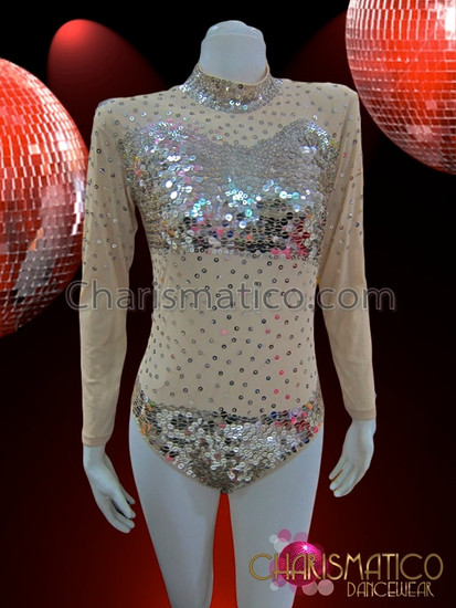 a3d60ffd52 CHARISMATICO Sequin Accented Mock Turtleneck Long Sleeve ...