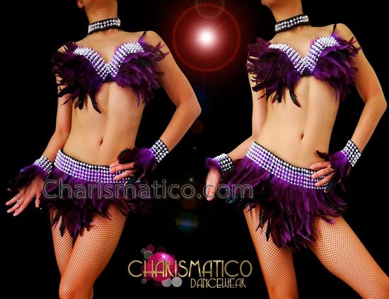 CHARISMATICO Burlesque Rhinestone Accented Purple Feather Bra With Matching Belt Skirt