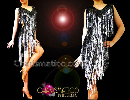 CHARISMATICO Diva'S Black And White Sequin Fringe Latin Salsa Dance Dress