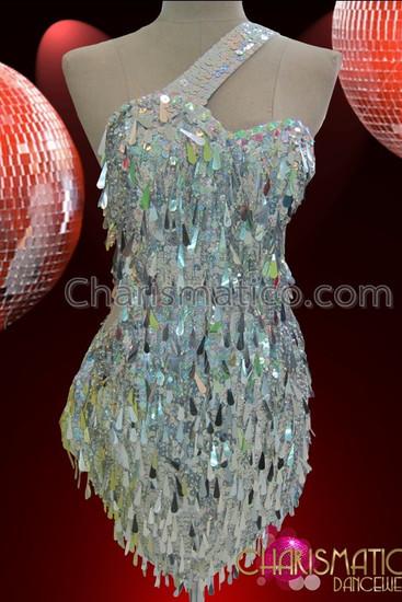 CHARISMATICO Asymmetrical Iridescent Metallic Beaded Silver Teardrop Sequin Disco Dance Dress