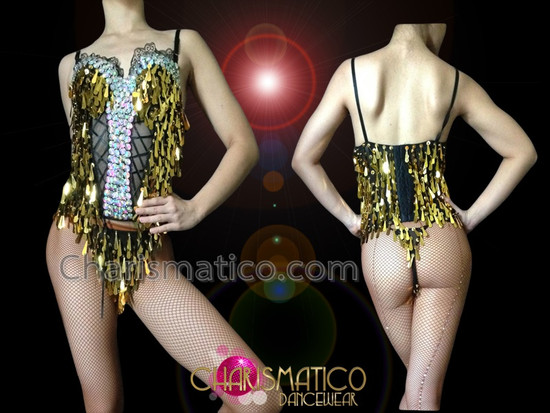 5b57ecf9749f CHARISMATICO Metallic Gold Teardrop Sequin Corset Illusion Top With  Matching G-String