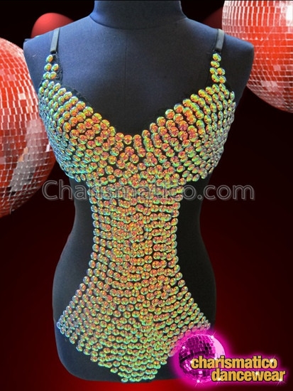 CHARISMATICO Black Based Iridescent Yellow Amber Crystal Studded Showgirl Dance Leotard