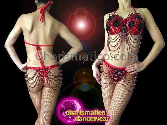 CHARISMATICO Black Accented Red Beaded Draped Fringe Gogo Bra And Thong