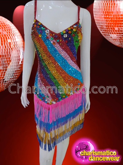 a1707d9bafbc CHARISMATICO Bold Diagonal Striped Rainbow Sequin And Fringed ...