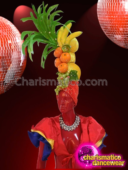 CHARISMATICO Classically Detailed Carmen Miranda Inspired Tropical Fruit Diva Showgirl Headdress