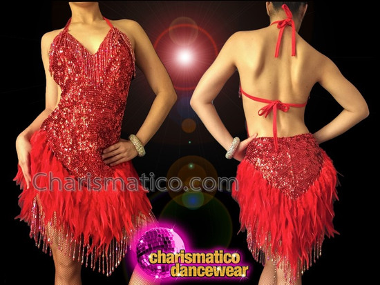 3cf27561b CHARISMATICO Sexy Red Feather Accented Sequin Halter Style Latin Dance Dress
