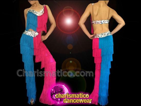 CHARISMATICO Diva Showgirl'S Sexy Fuchsia And Blue Fringed Latin Dance Pantsuit