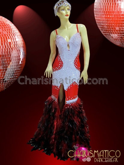 4365d1c743 CHARISMATICO Red and White Sequined Vegas Showgirl Gown with ...