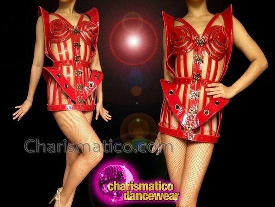 CHARISMATICO 3D Corset Madonna Dancer'S Cage Costume Made Of Red Leather