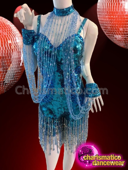 CHARISMATICO Blue Catsuit For The Belly Dancer Along With An Attached Beaded Necklace