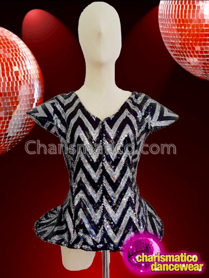 CHARISMATICO Awesome monochrome shade sexy sequin half sleeve drag queen jacket