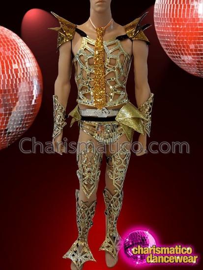 CHARISMATICO Armor Like Ultimate Metallic Gold Layered Dance Costume For Men