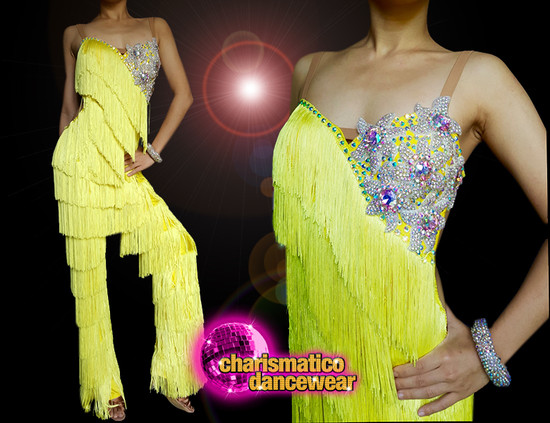 Floral Crystallized Yellow Dance Latin Salsa  samba Fringe Catsuit Pants