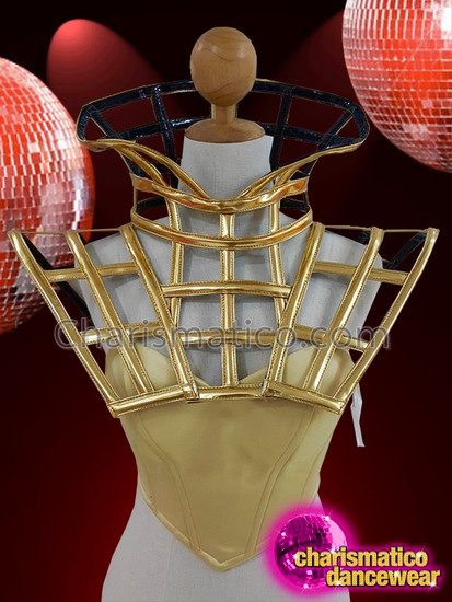 CHARISMATICO Diva gold cage show girl lady gaga top