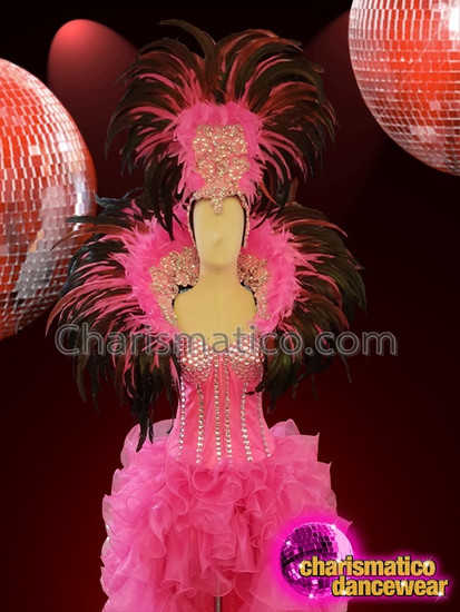 CHARISMATICO Baby Pink Black Feathered Silver Sequinned Diva Showgirl Costume Set