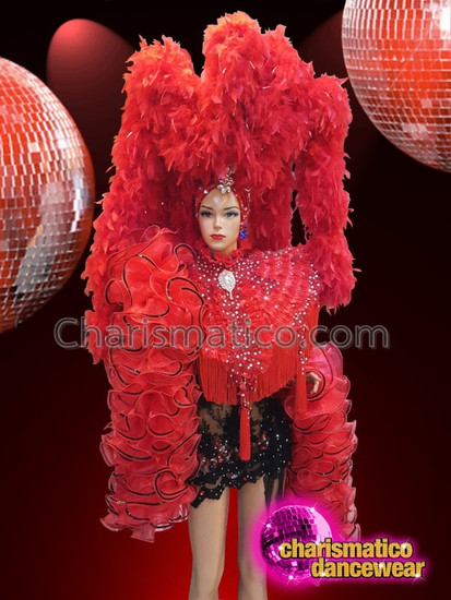 7c0e47549d9a CHARISMATICO Red and black feather diva drag queen costume set