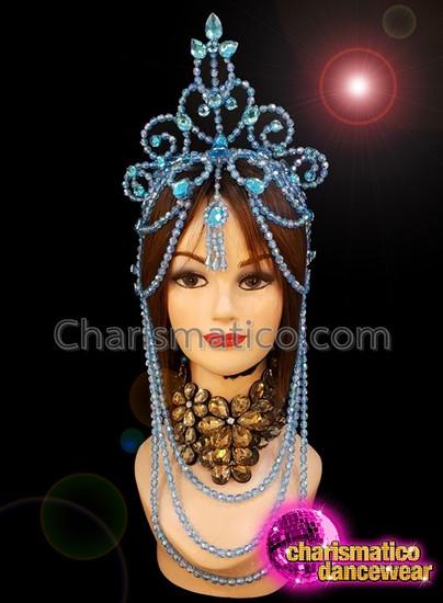 CHARISMATICO Blue beaded show girl diva floral drag queen diva headdress