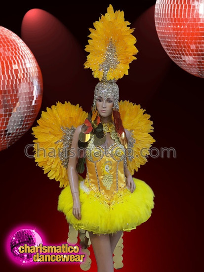 2687108877f6 CHARISMATICO Yellow feather silver sequinned diva show girl ...