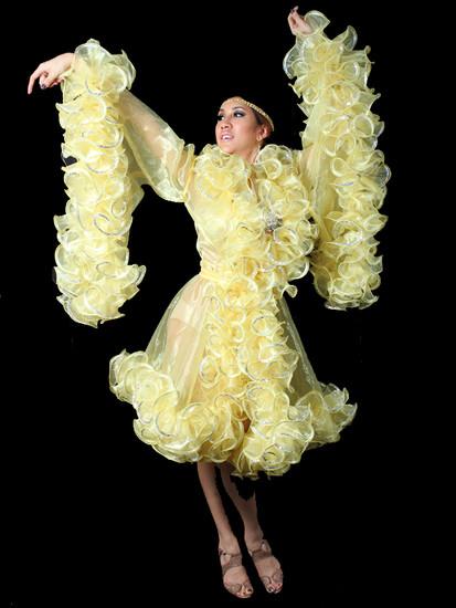 dee4271f93f7 Yellow Swan Lake Sissy Drag Queen Ruffle Boa Organza Coat Cover-Up ...