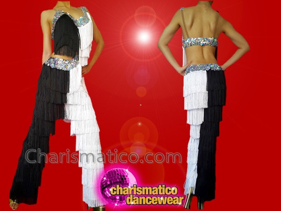 4d99a7f4f CHARISMATICO Black and white Latin silver sequinned dance fringe pants