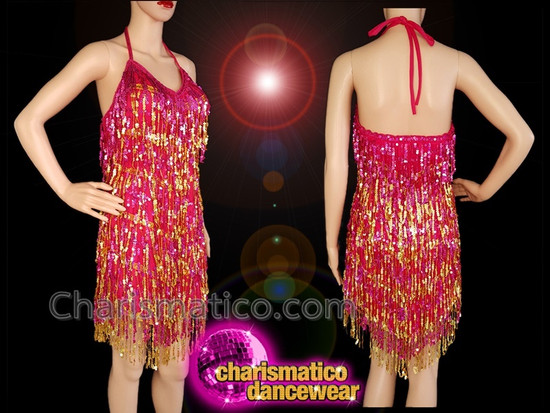 7ff55e8a874c CHARISMATICO Fuchsia and gold sequinned fringe halter neck diva dress