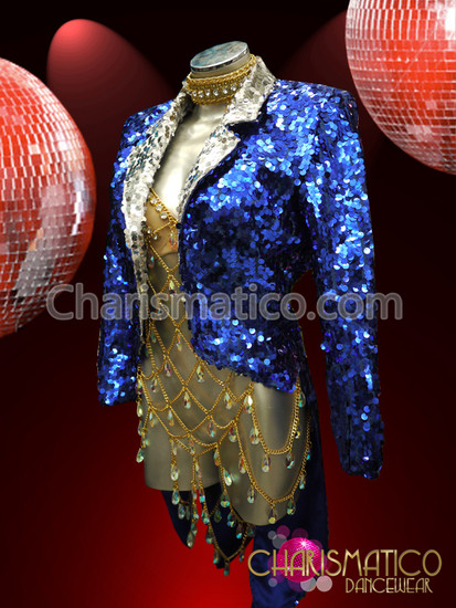 Blue Stage Diva Sequin Cabaret Sparkling Tail Tuxedo Suit