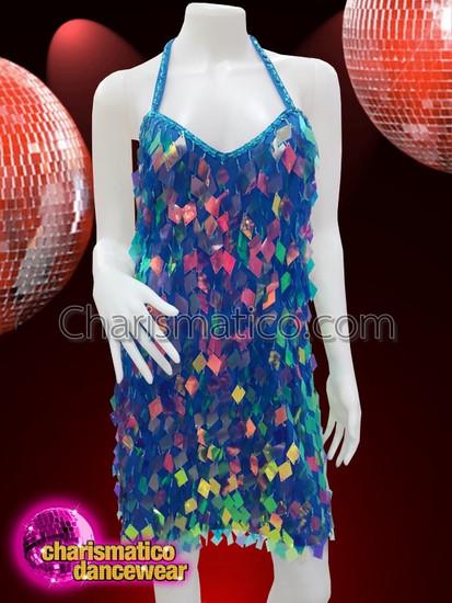 CHARISMATICO Blue diamond cut sequinned diva showgirl dress with halter neck
