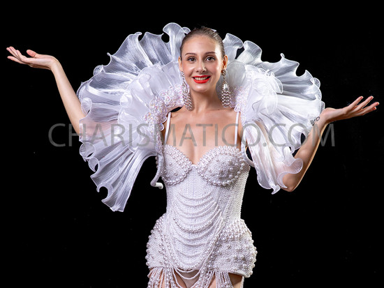 White Boudoir Evanescent Sexy Organza Collar Cabaret Feather Showgirl Organza Backpack