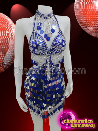 Halter Royal Blue Sequence Dress