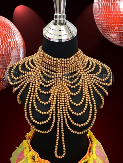 CHARISMATICO  Multi Layered Chained And Bunched Soft Brown Faux Pearl Necklace