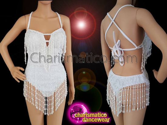 4b54ad628cf1 CHARISMATICO V-shape white sequin showgirl g-string leotard