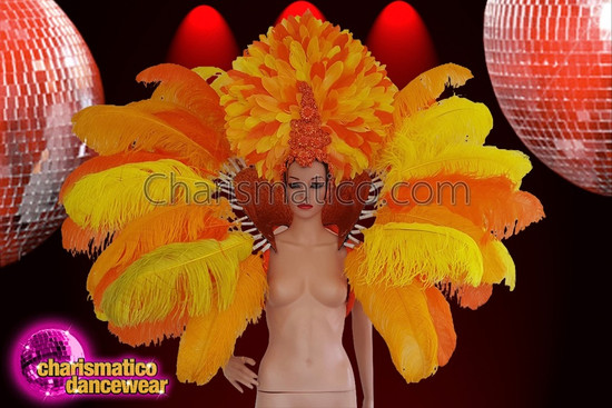 CHARISMATICO Classic Canary Yellow And Orange Headdress And Collar Set Backpack