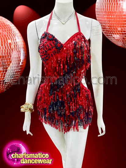 CHARISMATICO  Sequin Fringe Red Black Salsa Latindancer Dress