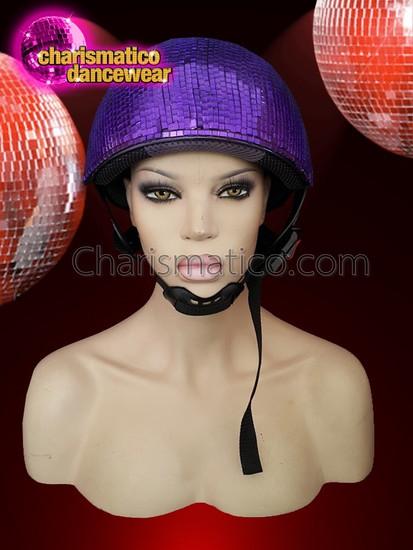 CHARISMATICO  Shimmering Night Club Disco Ball Purple Mirror Helmet