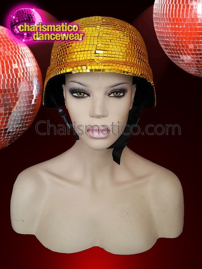 CHARISMATICO  Absolute Night Club Disco Ball Gold Mirror Helmet