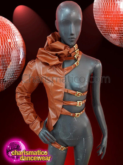 CHARISMATICO  One Arm Leather Jacket For Men In Brown With Adjustable Straps