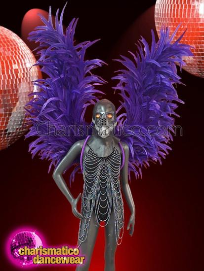 CHARISMATICO  Dramatic Diva Performance Long Purple Asymmetrical Wings