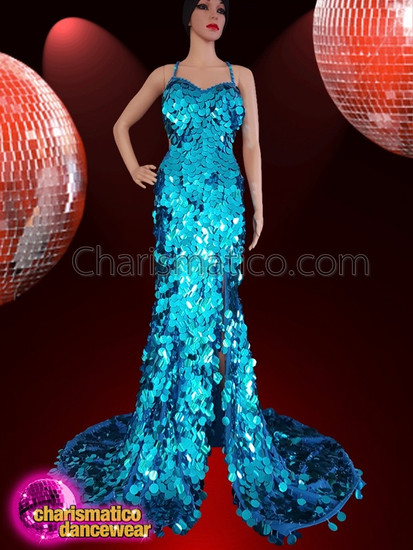 CHARISMATICO  Electric Blue Floor Length Puddle Style Sequin Strap Gown
