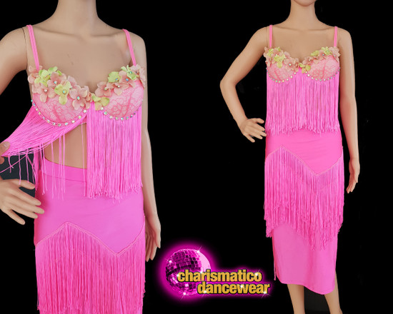 43140542cebf Pink fringe floral latin salsa 2 piece dance dress Clearance US 2-6
