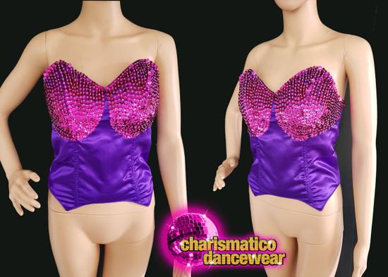 Diva Show Girl Purple Fuschsia Sequinned Dance Corset Clearance Us 2 - 6
