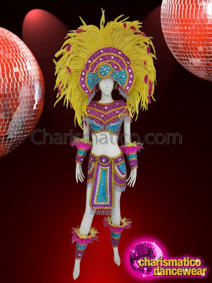 CHARISMATICO A Complete Multi-Colored Sequined Costume Set For A Rocking Carnival