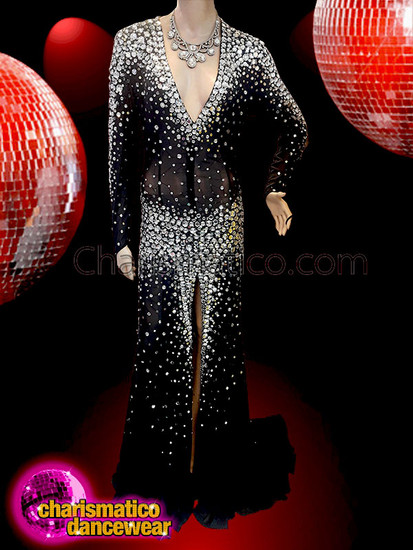 CHARISMATICO  Iridescent Crystal Embellished Black Illusion Long Sleeve Drag Queen Gown