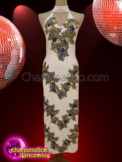 CHARISMATICO  White Chinese Style Neck Strap Floral Gown