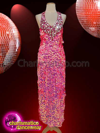 CHARISMATICO  Halter Top Valentine Pink Sequin Detailed Gown