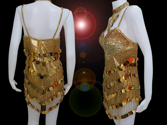 200eed867ab8 CHARISMATICO Give a stunning performance with Spectacular Gold Sequin Dress