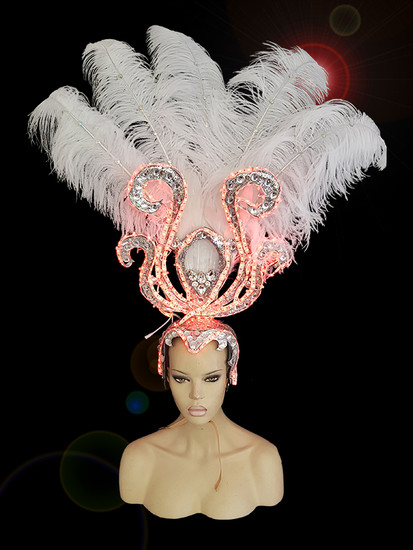 CHARISMATICO  Steal The Show Led Light White Ostrich Headdress