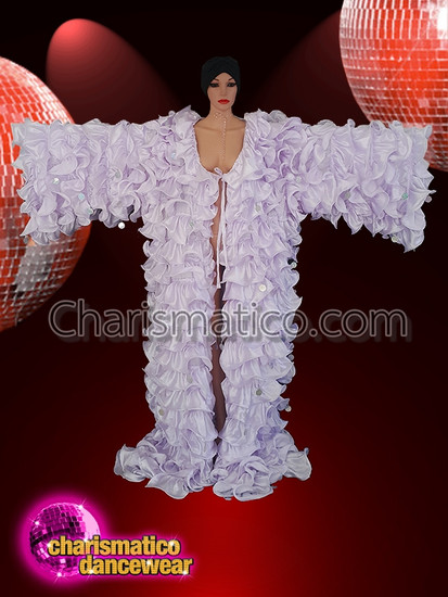 Charismatico  Coat White satin large ruffles white pearl sequence drag coat