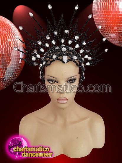 CHARISMATICO  Black And Silver Glittery Cap Headdress