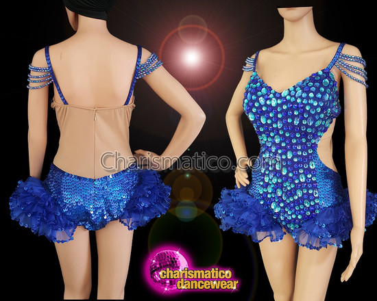 CHARISMATICO Alluring Blue Leotard With A Combination Of Beads, Sequins, And Ruffles